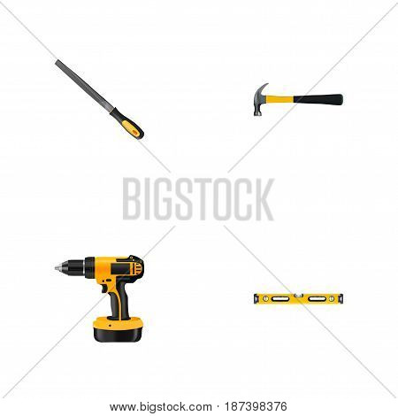 Realistic Plumb Ruler, Claw, Electric Screwdriver And Other Vector Elements. Set Of Instruments Realistic Symbols Also Includes Claw, Level, Appliance Objects.