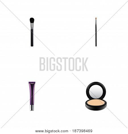 Realistic Day Creme, Blusher, Beauty Accessory And Other Vector Elements. Set Of Maquillage Realistic Symbols Also Includes Brow, Powder, Creme Objects.