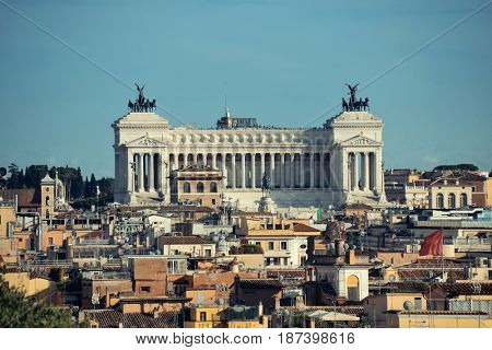Monumento Nazionale a Vittorio Emanuele II as the famouse landmark historic architecture in Rome Italy