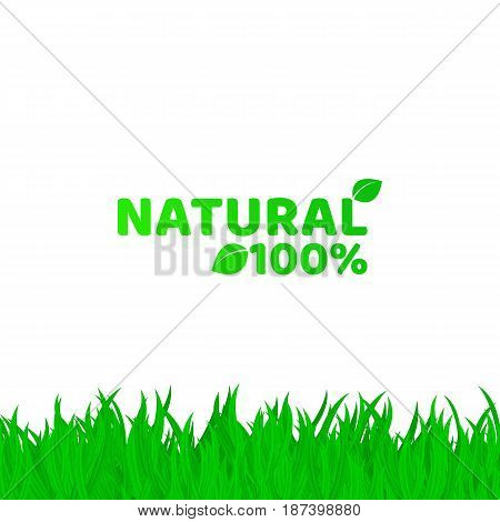 100 percent natural. Green fresh grass on a white background. A place for your projects. Original text. Natural product. Vector illustration. EPS 8