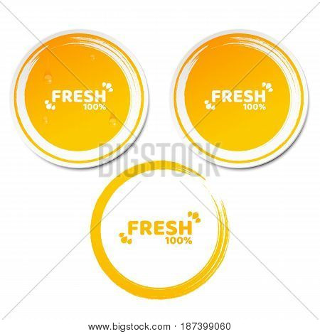 100 percent fresh product. Set of orange stickers in 3d style. Flowing drops of water. Grunge style. Fresh orange juice. Ecological label. Vector illustration. EPS 10