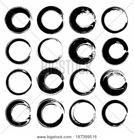 Round Textured Abstract Black Smears Vector Isolated On A White Background