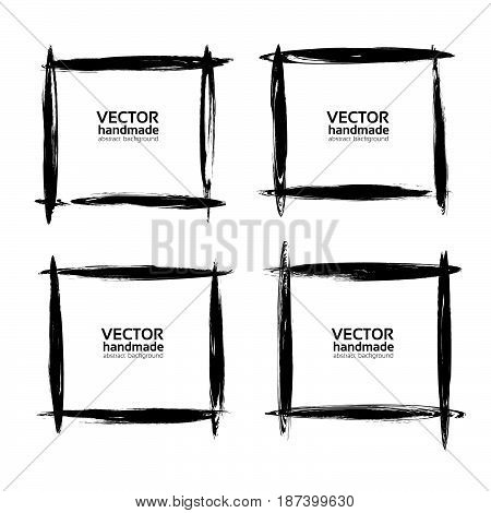 Square Frames From Thin Black Smears Paint Vector Objects Isolated On A White Background