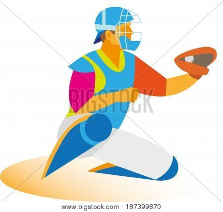 A young athlete is a baseball player who catches the ball
