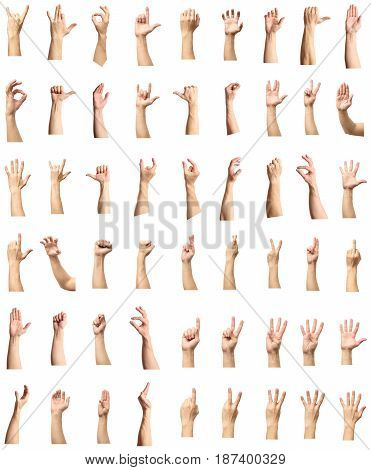 Male Hand Gesture And Sign Collection Isolated Over White Background