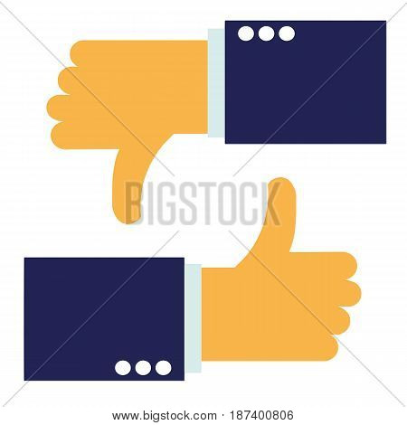 up and down hands vector - thumbs up - like and dislike icon