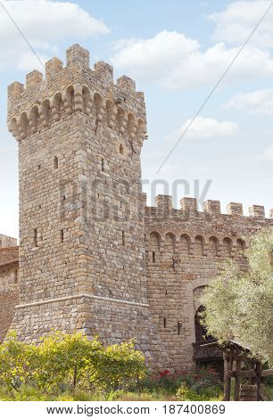 panoramic view of nice old kings castle in summer environment