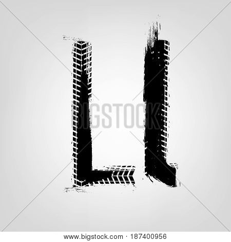 Grunge tire letter L. Unique off road isolated lettering in a black colour. Vector illustration.