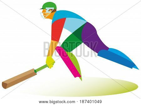 Young batsman quickly runs to the ball