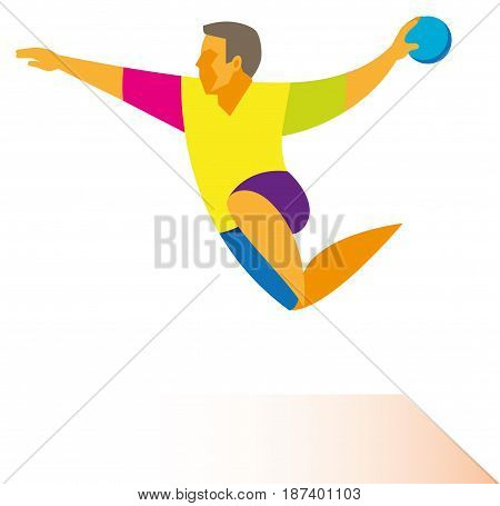 A young athlete is a handball player who throw the ball in jump