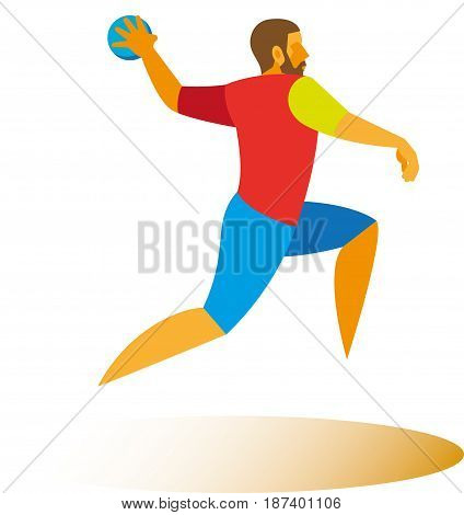 Young athlete - handball player begins to attack of their team