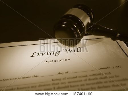 Living Will document and a legal gavel