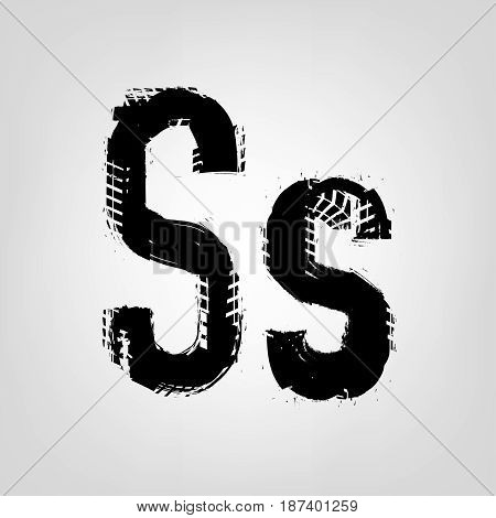Grunge tire letter S. Unique off road isolated lettering in a black colour. Vector illustration.