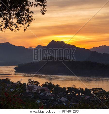 Beautiful sunset over the Mekong river in Luang Prabang, Laos