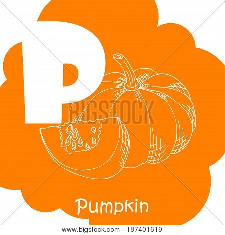 Alphabet for kids with vegetables. Healthy letter abc P-Pumpkin.