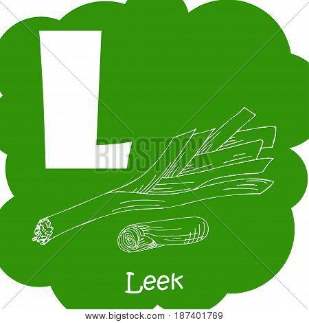 Alphabet for kids with vegetables. Healthy letter abc L-Leek.