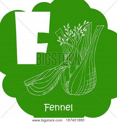 Alphabet for kids with vegetables. Healthy letter abc F-Fennel.
