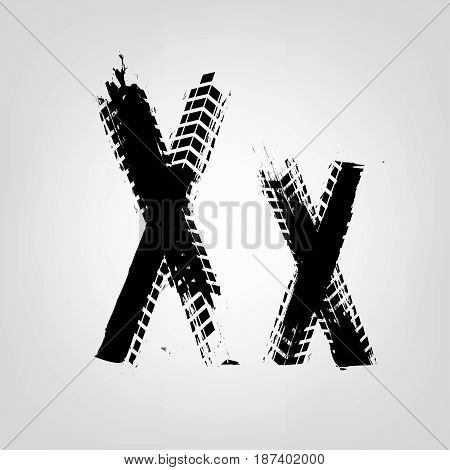 Grunge tire letter X. Unique off road isolated lettering in a black colour. Vector illustration.