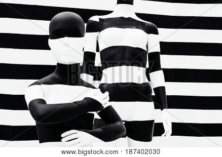 Art Mannequin Black And White Stripes, On Striped With Black And White Stripes. Disguise.