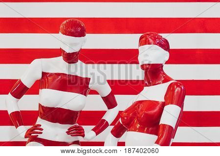 Art Mannequin Red And White Stripes, On Striped With Red And White Stripes. Disguise.