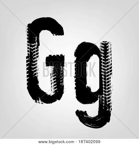 Grunge tire letter G. Unique off road isolated lettering in a black colour. Vector illustration.