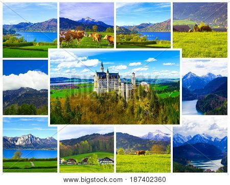 Summer landscape - view of the famous tourist attraction in the Bavarian Alps - the 19th century 3castle. Collage