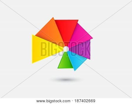 Abstract color fan on a gray background