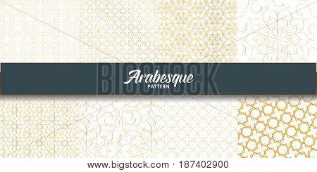 Arabesque patterns set. Golden arabic decoration for Islamic holidays. Arabesque for Ramadan.