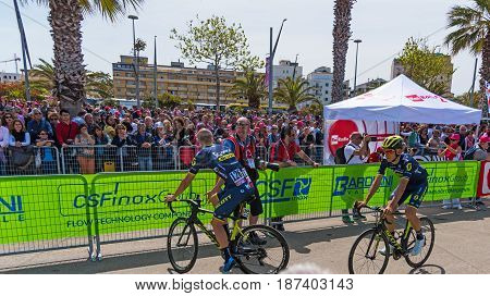 Alghero Italy - May 05 2017: Orica Scott cyclists on 100th Giro d'Italia opening day