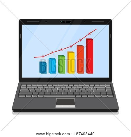 Monitor of laptop with business graph on the screen.