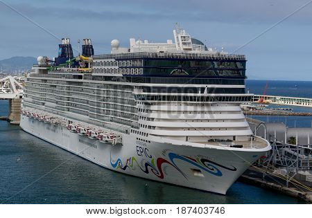 Norwegian Epic Norwegian Cruise Line - Barcelona Spain - 07 May 2017: Cruise ship is ready to leave for a 7 night Mediterranean journey from Barcelona.