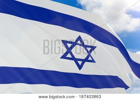 3D Rendering Of Israel Flag Waving On Blue Sky Background