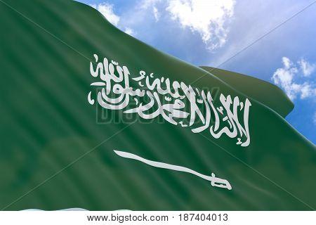 3D Rendering Of Saudi Arabia Flag Waving On Sky Background