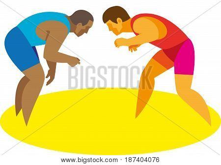 A two young strong athletes is a freestyle wrestlers begin their duel