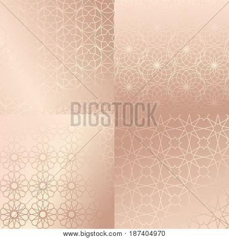 Ramadan Kareem Pink Gold Greeting Card, Banner, Seamless Pattern Set. Vector Arabic Ornate Geometric