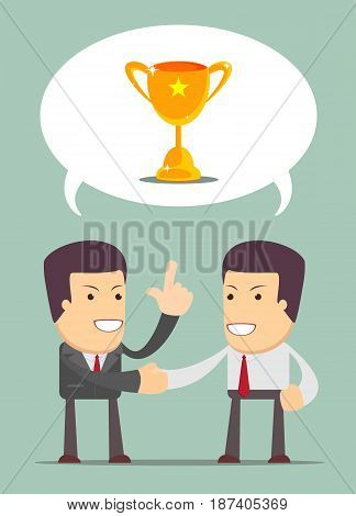 Insurance consultant or financial adviser having a friendly talk with a young men. Businessmen shaking hands. they are wants to get the prize , Successful man. Business concept - vector illustration
