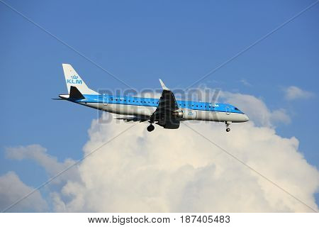 Amsterdam the Netherlands - May 20th 2017: PH-EZR KLM Cityhopper Embraer ERJ-190STD approaching Schiphol Polderbaan runway