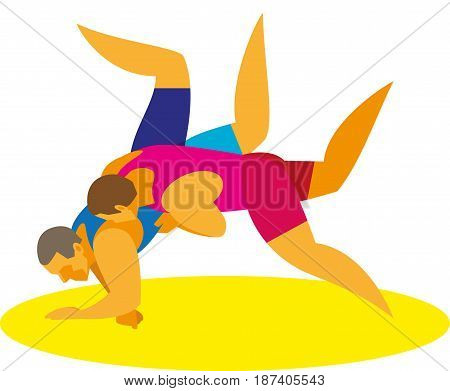 A young strong athlete of the Greco-Roman wrestling сonducts his opponent's throw