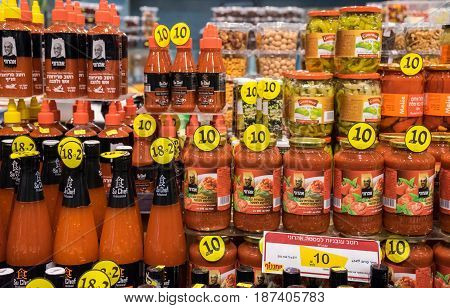 Sweet Chilli And Other Sauces For Sale At Israeli Food Supermarket