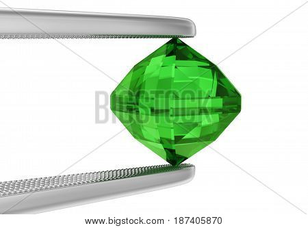 The tweezers holds a large emerald on white. 3D rendering.