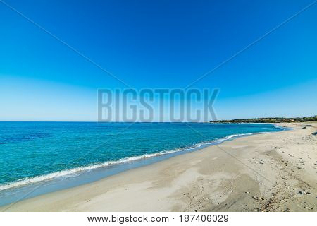 Clear sky over Cea beach. Sardinia Italy