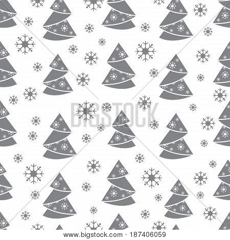 Winter Seamless Pattern With Christmas Tree In Origami Form And Snowflakes.