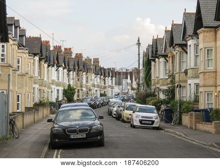 OXFORD UK - CIRCA SEPTEMBER 2016: typical British terraced houses with cars parked on the street