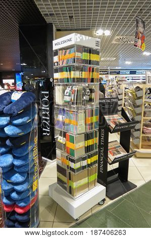 LINATE MILAN ITALY - CIRCA JANUARY 2016: Moleskine brand store at the airport of Milan Linate