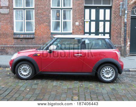 Red Mini Cooper Car (2013 Version) In Hamburg