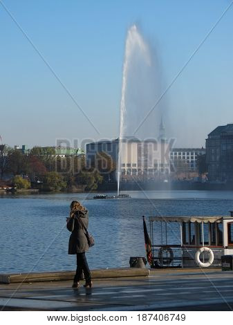 Alsterfontane (meaning Fountain On The River Alster) In Hamburg