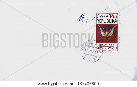 PRAGUE CZECH REPUBLIC - CIRCA FEBRUARY 2013: a stamp printed by Czech Republic celebrating the 150th anniversary of Sokol (Sport association founded in Prague in 1862)