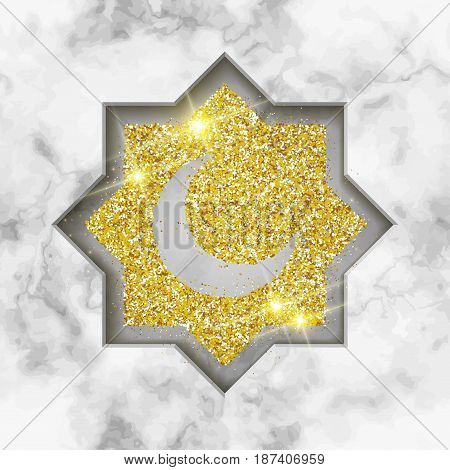 vector holiday illustration of shiny Ramadan Kareem label on marble background. Composition of muslim holy month