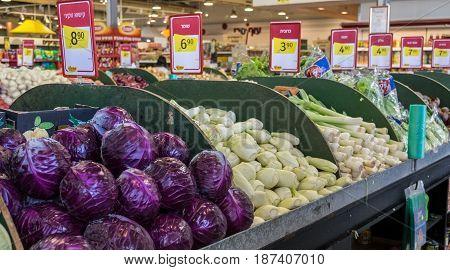 Fresh Cleaned Vegatables For Sale At Israeli Food Supermarket