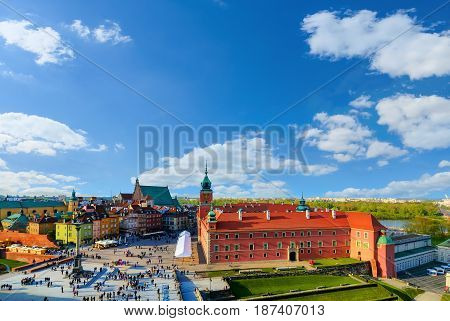 Royal castle and old town in a summer day Poland Europe